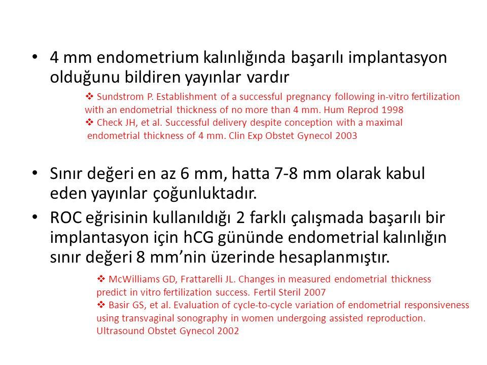 4 mm endometrium kalınlığında başarılı implantasyon olduğunu bildiren yayınlar vardır