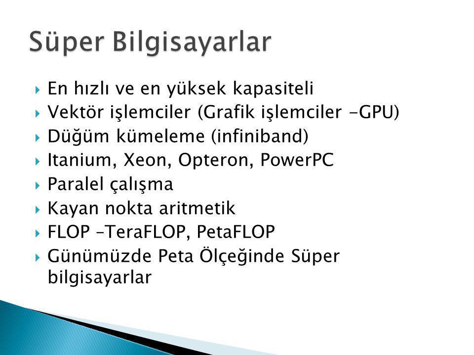 Süper Bilgisayarlar En hızlı ve en yüksek kapasiteli