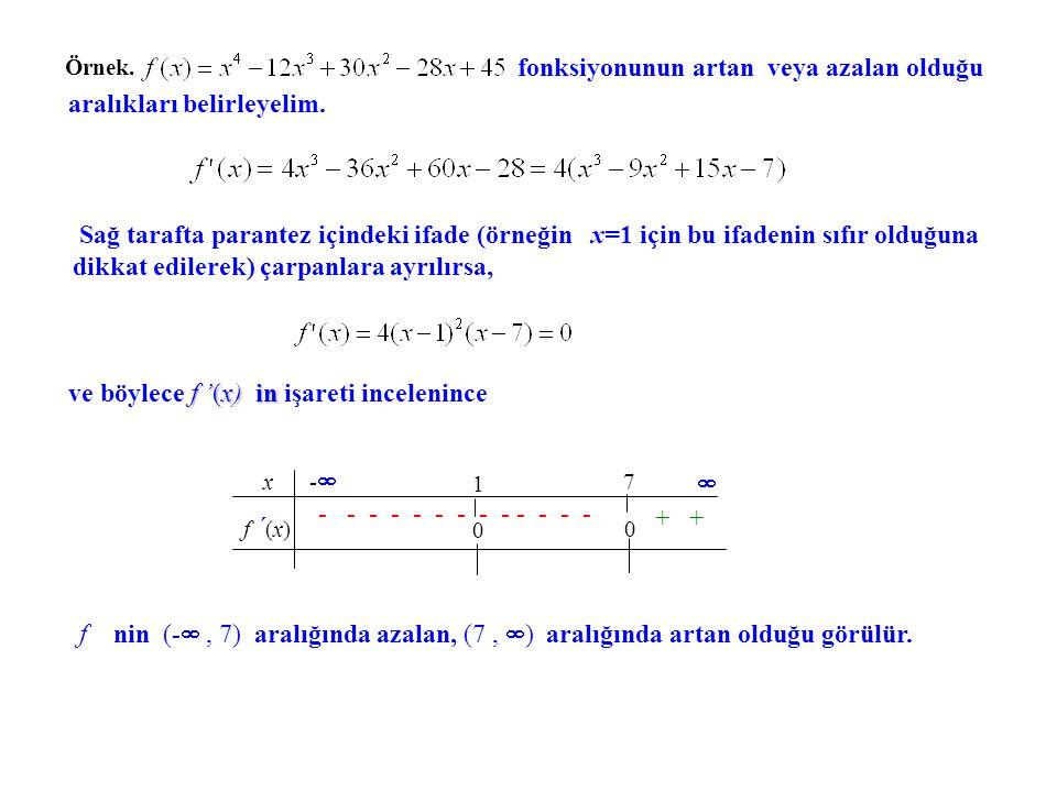 fonksiyonunun artan veya azalan olduğu aralıkları belirleyelim.