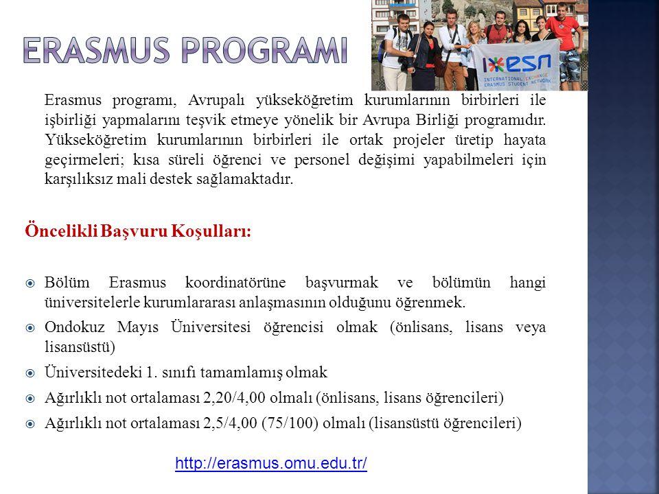 ERASMUS PROGRAMI Öncelikli Başvuru Koşulları: