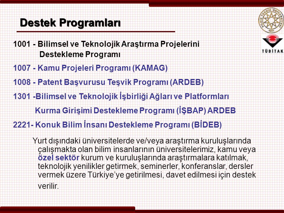 Destek Programları 1001 - Bilimsel ve Teknolojik Araştırma Projelerini