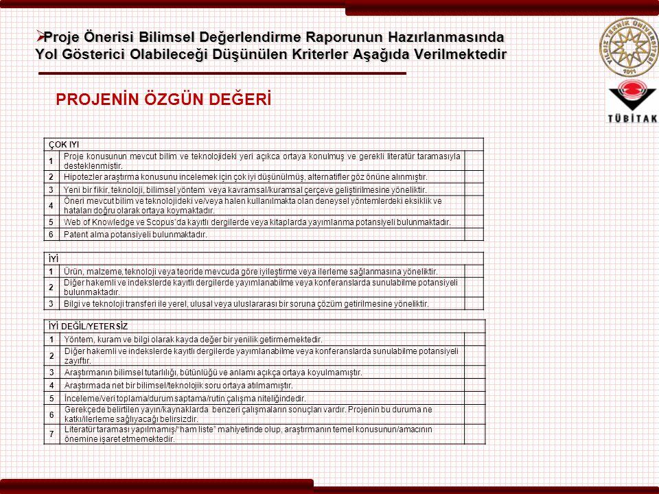 Proje Önerisi Bilimsel Değerlendirme Raporunun Hazırlanmasında Yol Gösterici Olabileceği Düşünülen Kriterler Aşağıda Verilmektedir