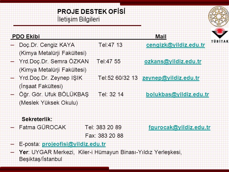 PROJE DESTEK OFİSİ İletişim Bilgileri PDO Ekibi Mail