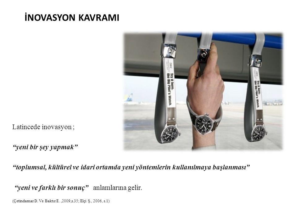 İNOVASYON KAVRAMI Latincede inovasyon ; yeni bir şey yapmak
