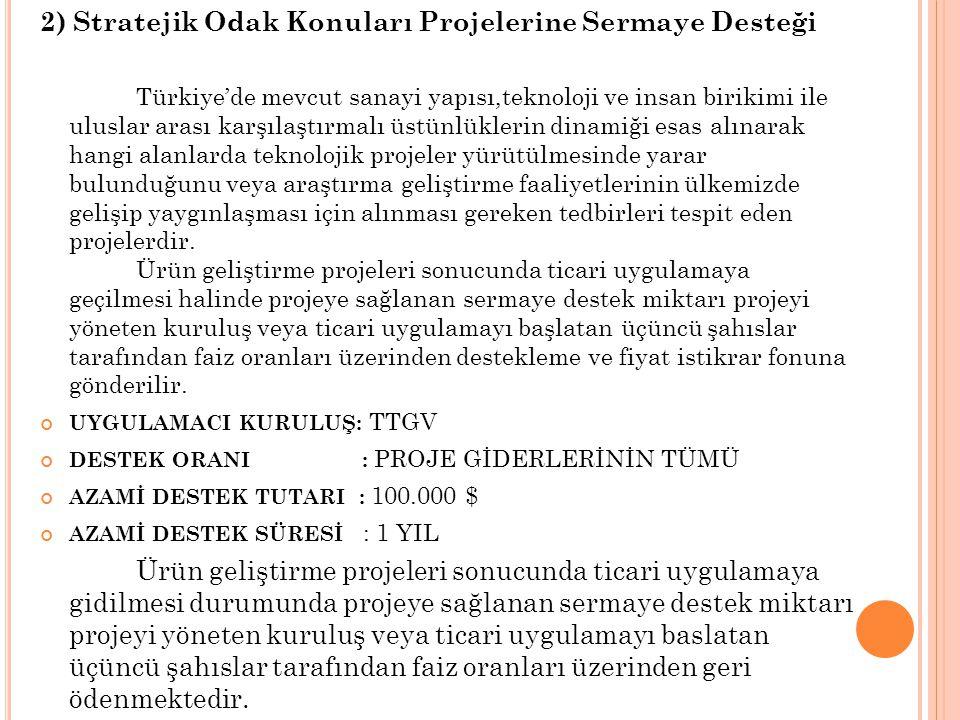 2) Stratejik Odak Konuları Projelerine Sermaye Desteği