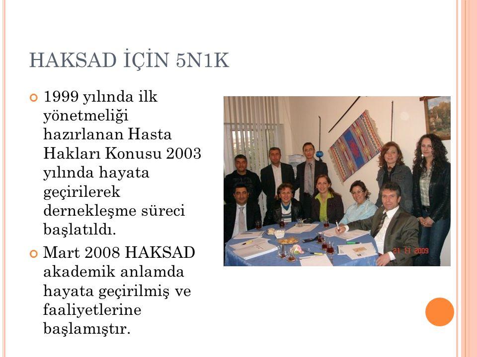 HAKSAD İÇİN 5N1K 1999 yılında ilk yönetmeliği hazırlanan Hasta Hakları Konusu 2003 yılında hayata geçirilerek dernekleşme süreci başlatıldı.