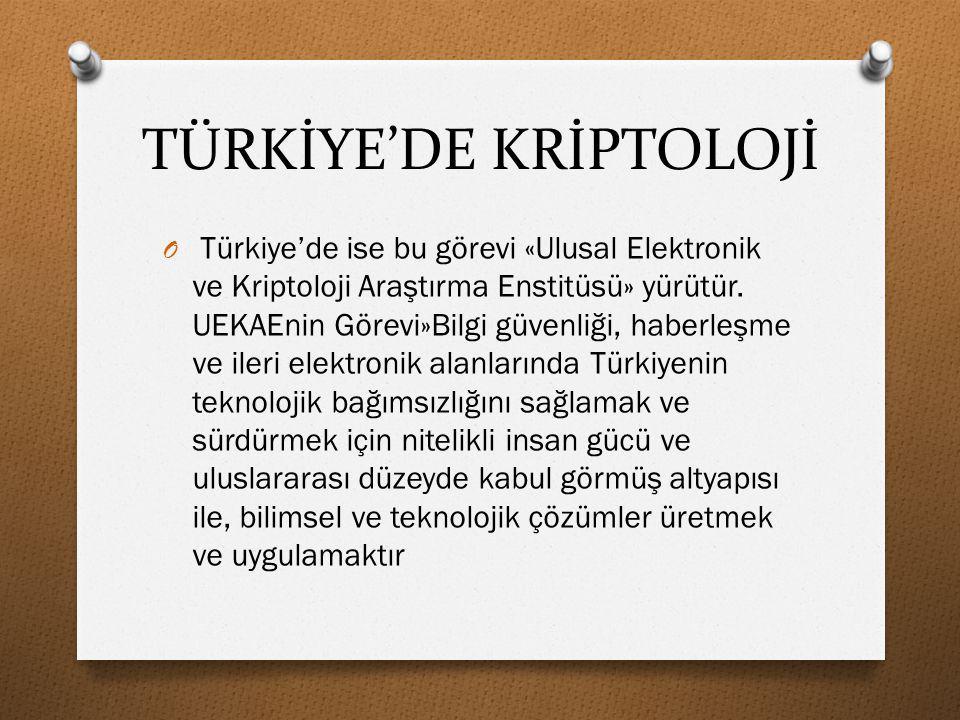 TÜRKİYE'DE KRİPTOLOJİ
