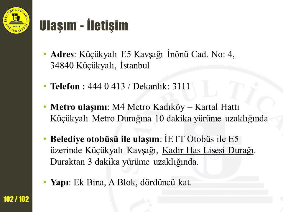 Ulaşım - İletişim Adres: Küçükyalı E5 Kavşağı İnönü Cad. No: 4, 34840 Küçükyalı, İstanbul. Telefon : 444 0 413 / Dekanlık: 3111.