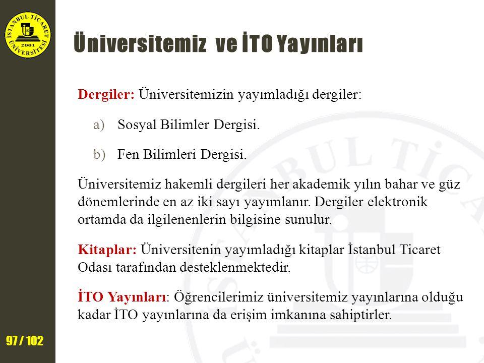 Üniversitemiz ve İTO Yayınları