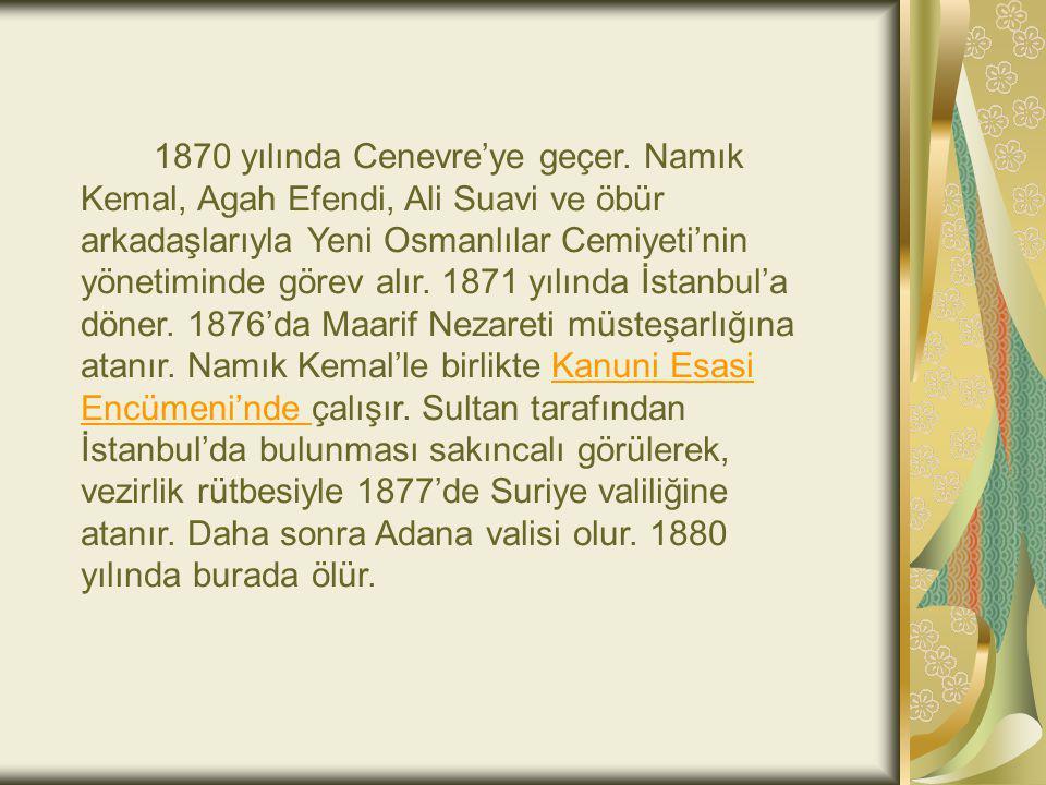 1870 yılında Cenevre'ye geçer