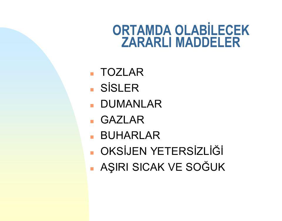 ORTAMDA OLABİLECEK ZARARLI MADDELER