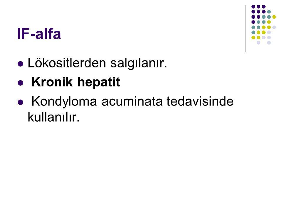 IF-alfa Lökositlerden salgılanır. Kronik hepatit