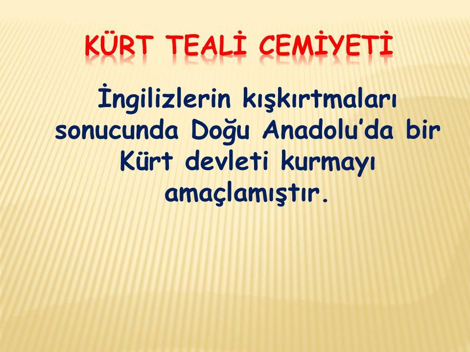 Kürt TEALİ CEMİYETİ İngilizlerin kışkırtmaları sonucunda Doğu Anadolu'da bir Kürt devleti kurmayı amaçlamıştır.