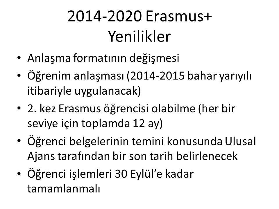 2014-2020 Erasmus+ Yenilikler Anlaşma formatının değişmesi
