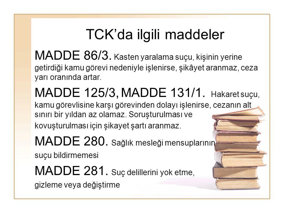 TCK'da ilgili maddeler