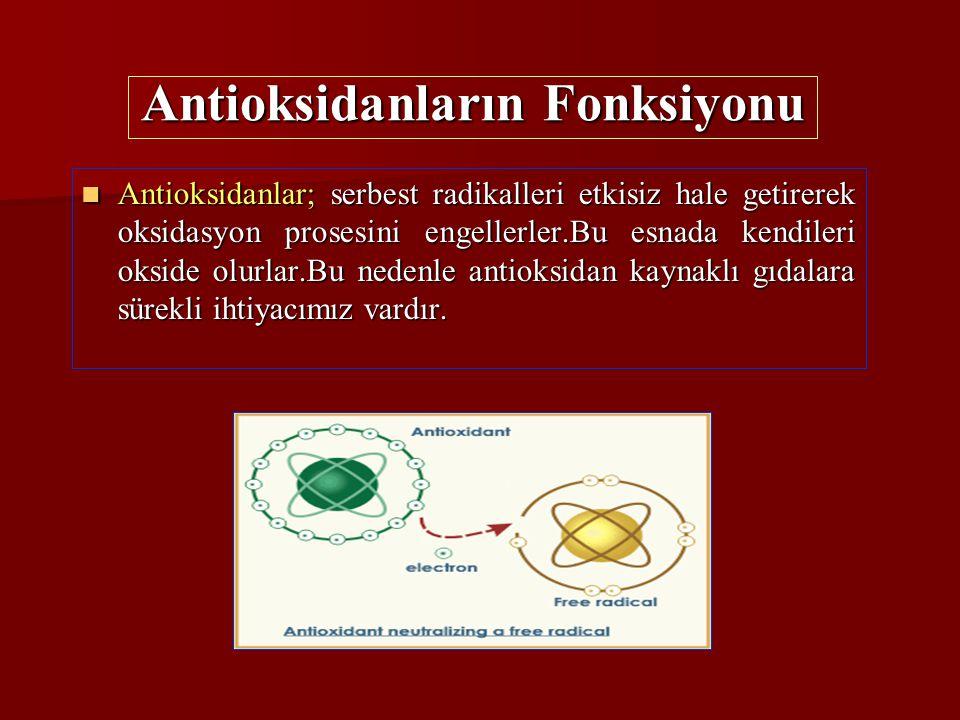 Antioksidanların Fonksiyonu