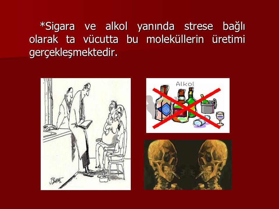*Sigara ve alkol yanında strese bağlı olarak ta vücutta bu moleküllerin üretimi gerçekleşmektedir.