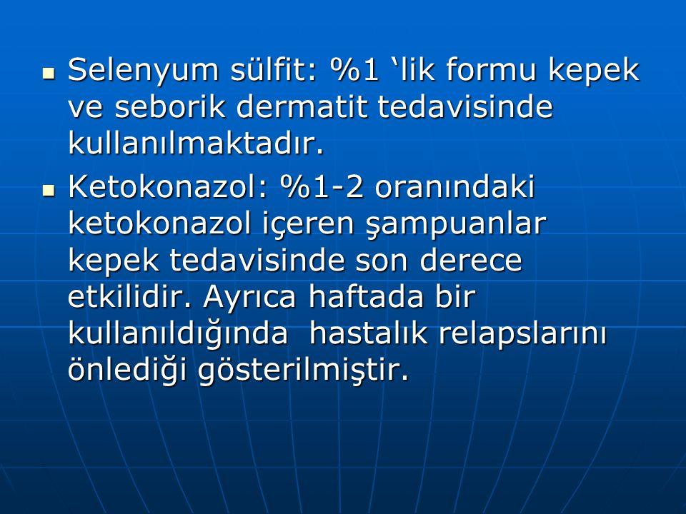 Selenyum sülfit: %1 'lik formu kepek ve seborik dermatit tedavisinde kullanılmaktadır.