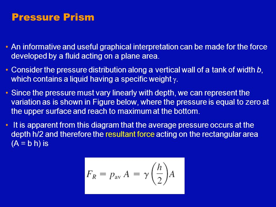 Pressure Prism An informative and useful graphical interpretation can be made for the force developed by a fluid acting on a plane area.