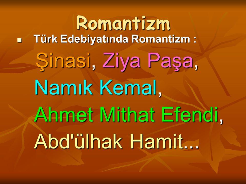 Namık Kemal, Ahmet Mithat Efendi, Abd ülhak Hamit... Romantizm