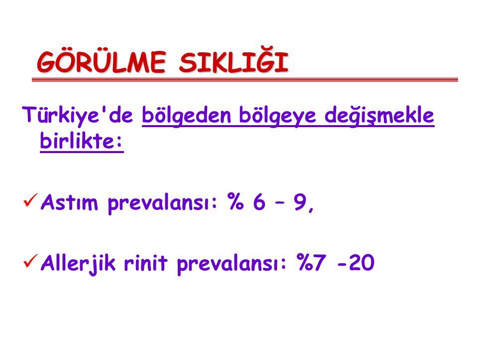 GÖRÜLME SIKLIĞI Türkiye de bölgeden bölgeye değişmekle birlikte: