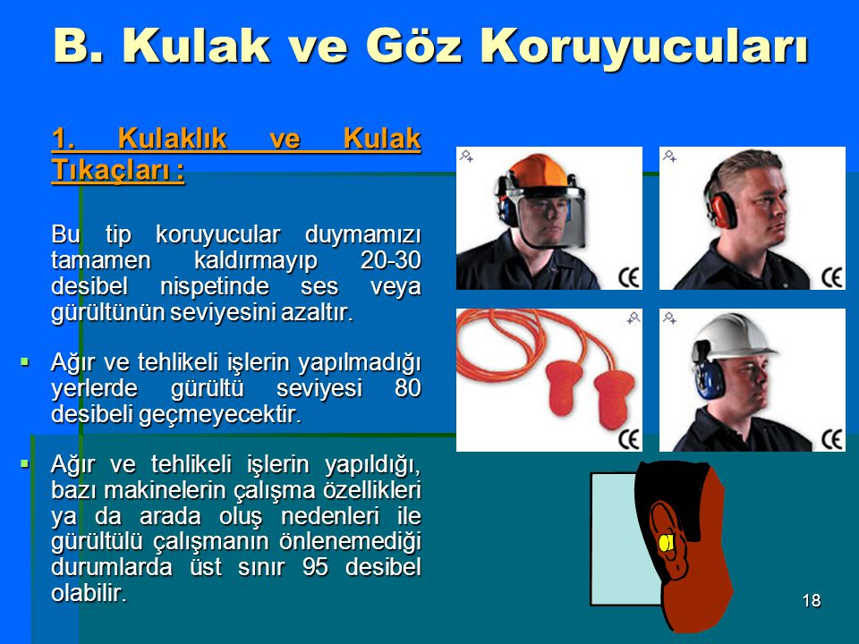 B. Kulak ve Göz Koruyucuları