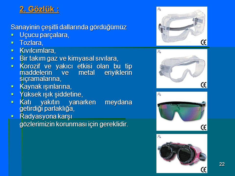 2. Gözlük : Sanayinin çeşitli dallarında gördüğümüz Uçucu parçalara,