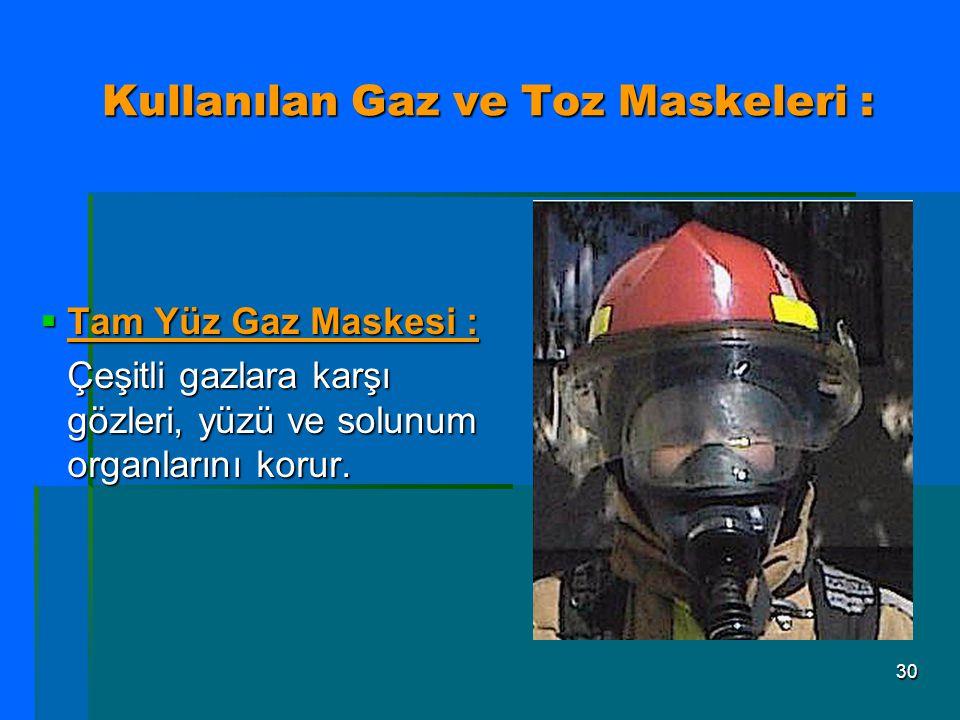 Kullanılan Gaz ve Toz Maskeleri :