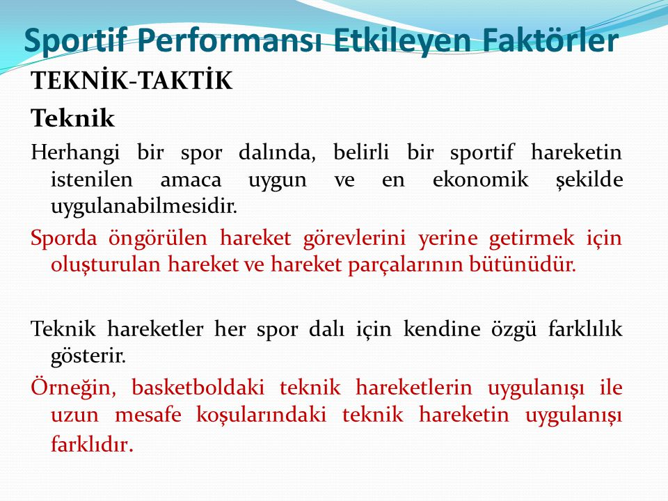 Sportif Performansı Etkileyen Faktörler
