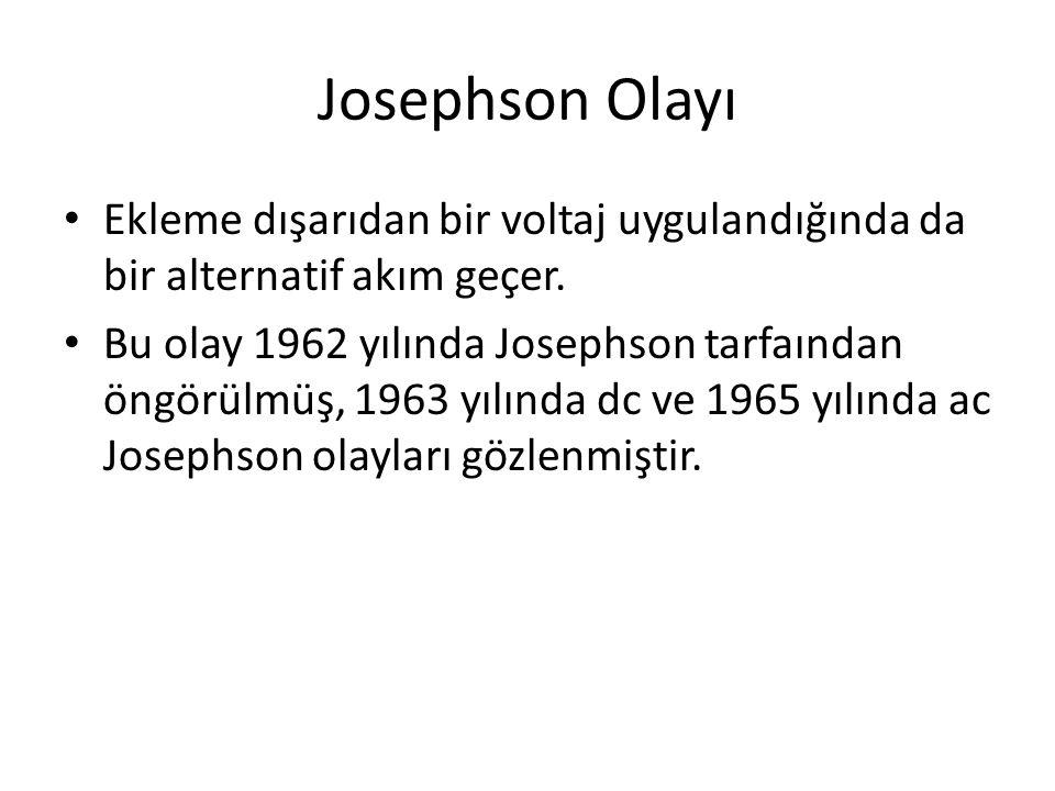 Josephson Olayı Ekleme dışarıdan bir voltaj uygulandığında da bir alternatif akım geçer.