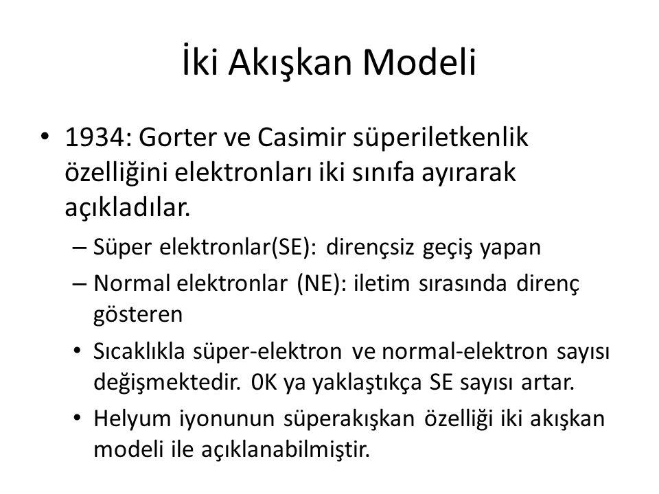 İki Akışkan Modeli 1934: Gorter ve Casimir süperiletkenlik özelliğini elektronları iki sınıfa ayırarak açıkladılar.