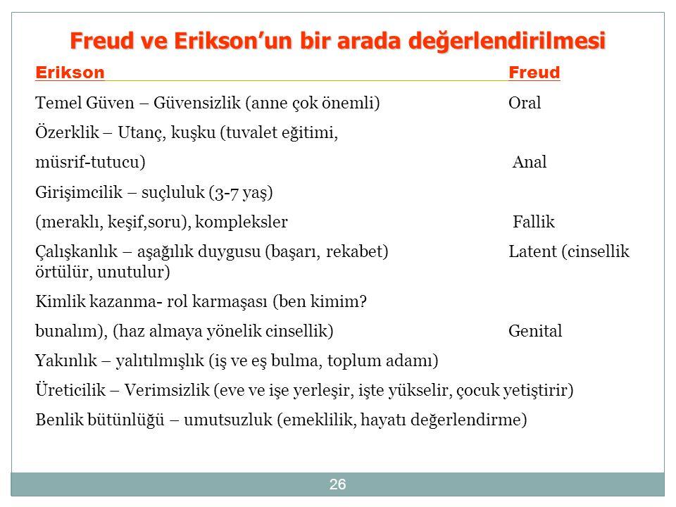 Freud ve Erikson'un bir arada değerlendirilmesi