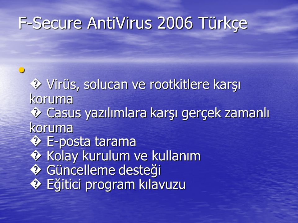 F-Secure AntiVirus 2006 Türkçe