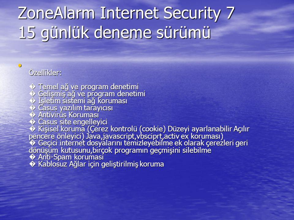 ZoneAlarm Internet Security 7 15 günlük deneme sürümü