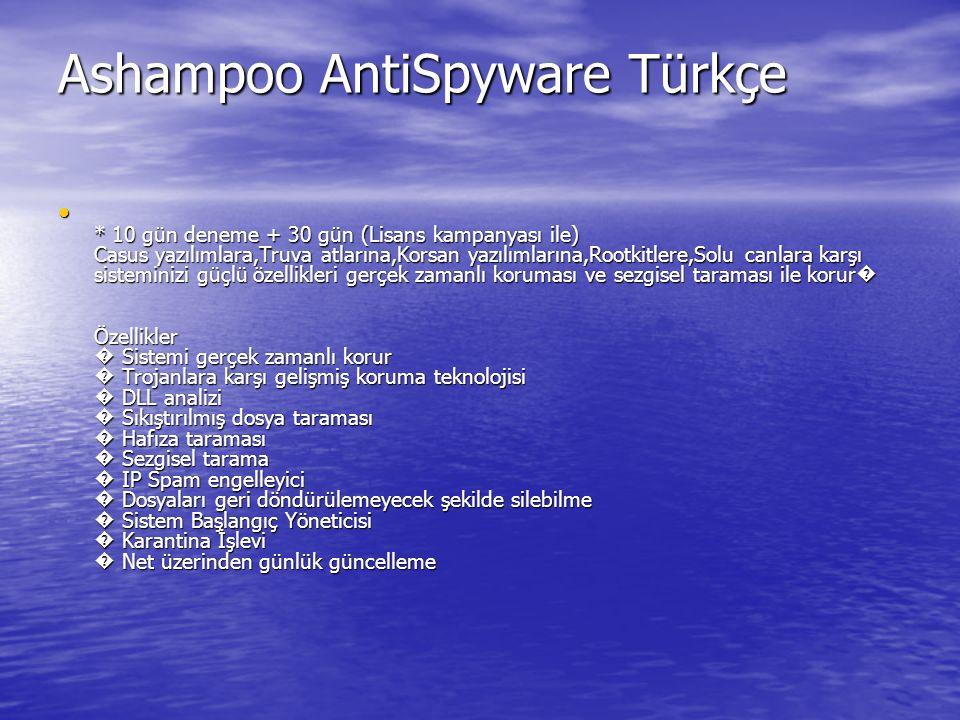 Ashampoo AntiSpyware Türkçe