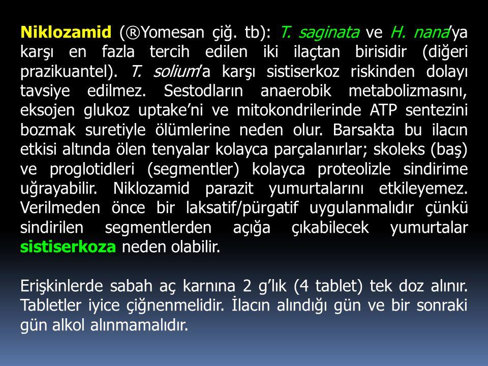Niklozamid (®Yomesan çiğ. tb): T. saginata ve H