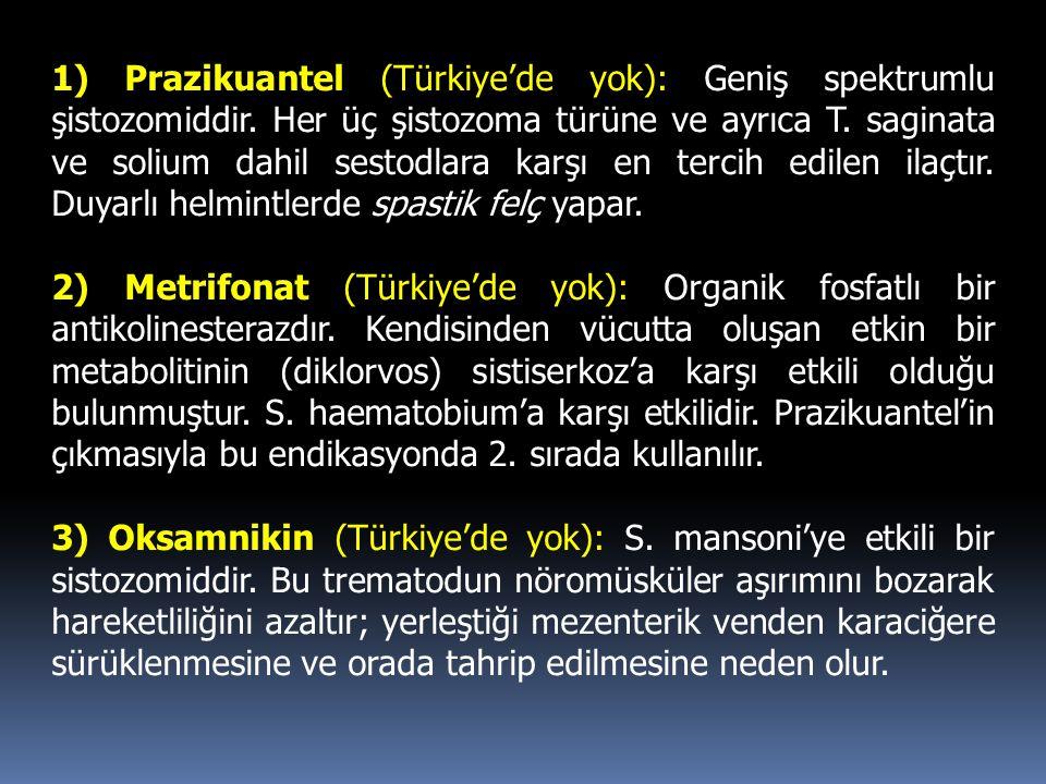 1) Prazikuantel (Türkiye'de yok): Geniş spektrumlu şistozomiddir