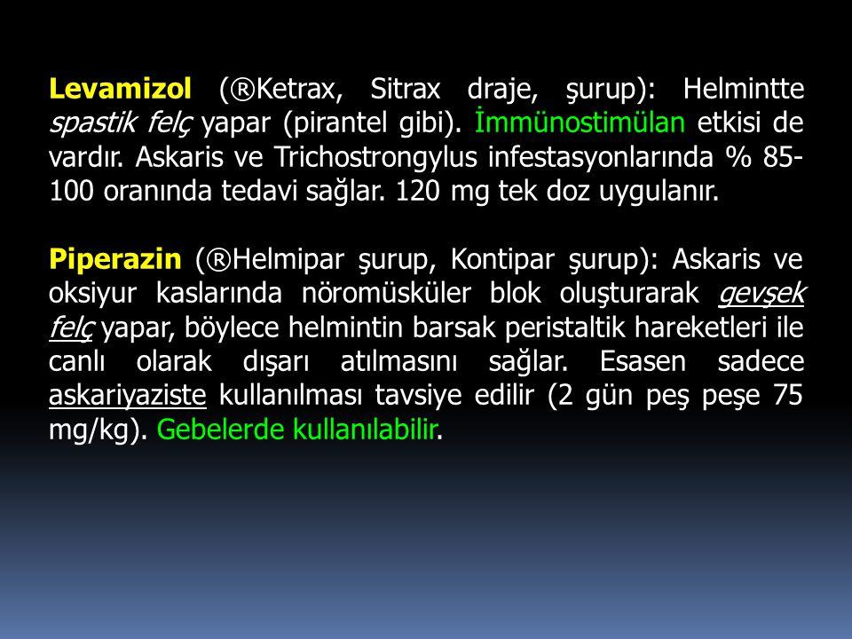 Levamizol (®Ketrax, Sitrax draje, şurup): Helmintte spastik felç yapar (pirantel gibi). İmmünostimülan etkisi de vardır. Askaris ve Trichostrongylus infestasyonlarında % 85-100 oranında tedavi sağlar. 120 mg tek doz uygulanır.