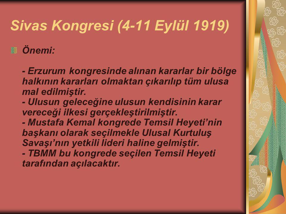 Sivas Kongresi (4-11 Eylül 1919)