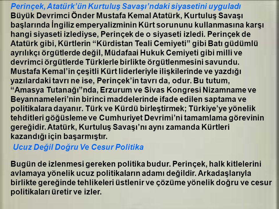 Perinçek, Atatürk'ün Kurtuluş Savaşı'ndaki siyasetini uyguladı