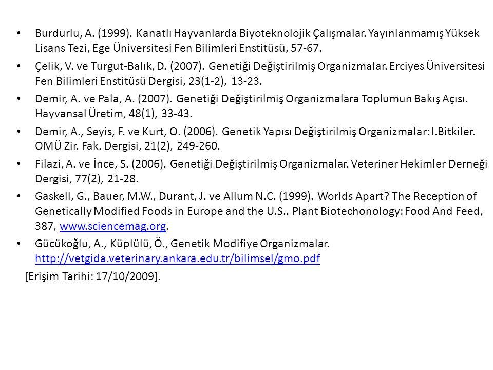 Burdurlu, A. (1999). Kanatlı Hayvanlarda Biyoteknolojik Çalışmalar