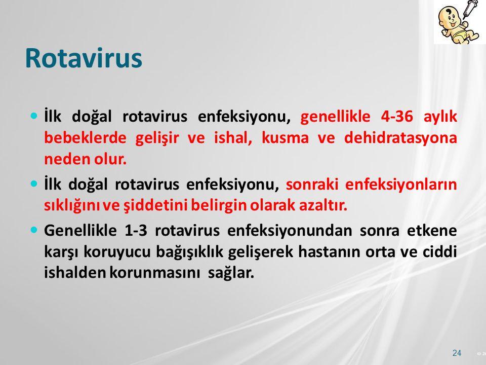 Rotavirus İlk doğal rotavirus enfeksiyonu, genellikle 4-36 aylık bebeklerde gelişir ve ishal, kusma ve dehidratasyona neden olur.