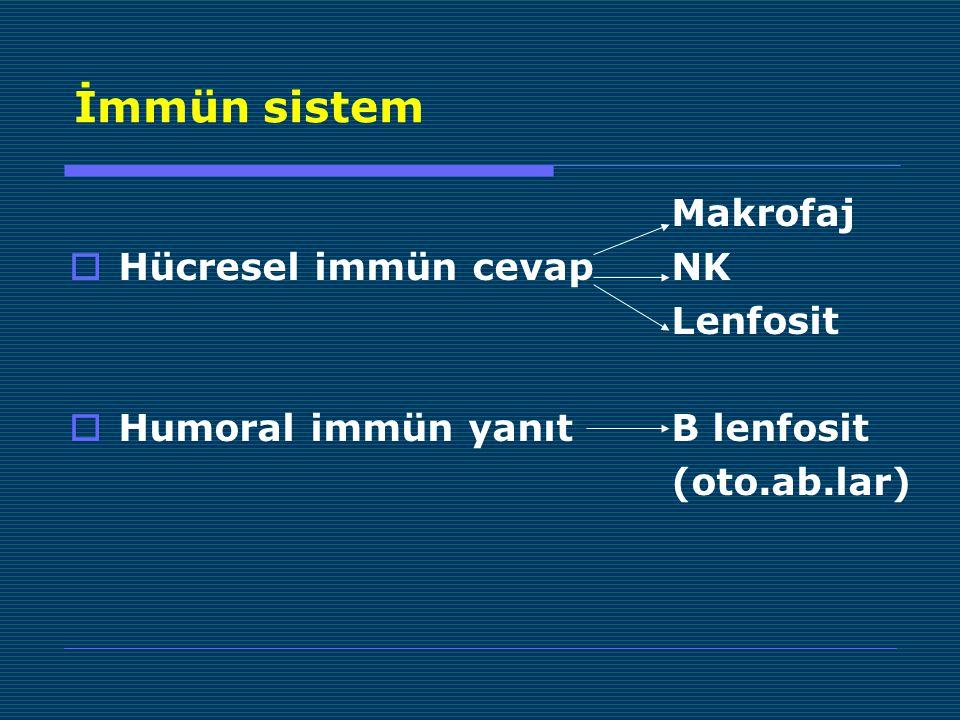 İmmün sistem Makrofaj Hücresel immün cevap NK Lenfosit