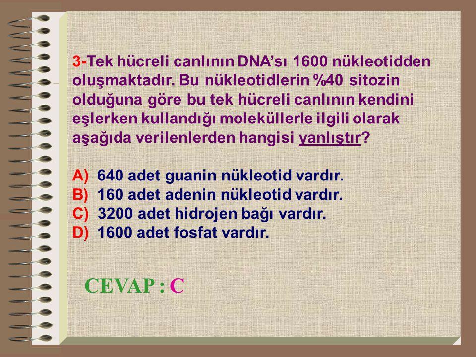 3-Tek hücreli canlının DNA'sı 1600 nükleotidden oluşmaktadır