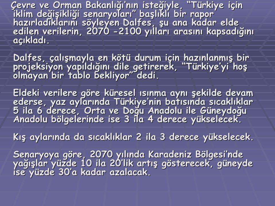 Çevre ve Orman Bakanlığı'nın isteğiyle, Türkiye için iklim değişikliği senaryoları başlıklı bir rapor hazırladıklarını söyleyen Dalfes, şu ana kadar elde edilen verilerin, 2070 -2100 yılları arasını kapsadığını açıkladı. Dalfes, çalışmayla en kötü durum için hazınlanmış bir projeksiyon yapıldığını dile getirerek, Türkiye'yi hoş olmayan bir tablo bekliyor dedi.