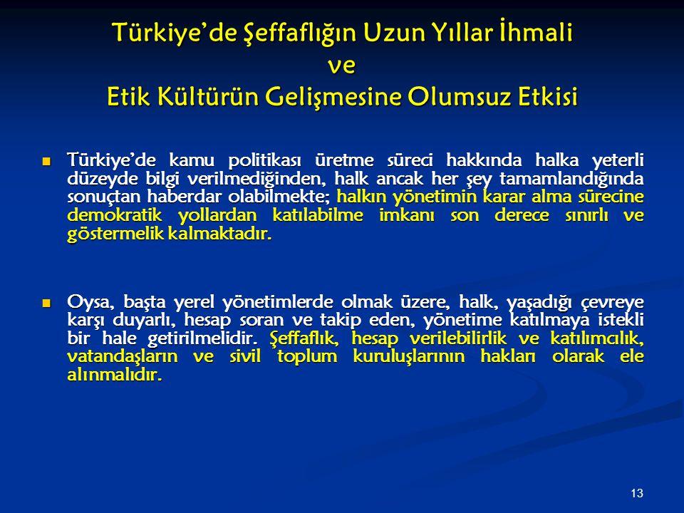 Türkiye'de Şeffaflığın Uzun Yıllar İhmali ve Etik Kültürün Gelişmesine Olumsuz Etkisi