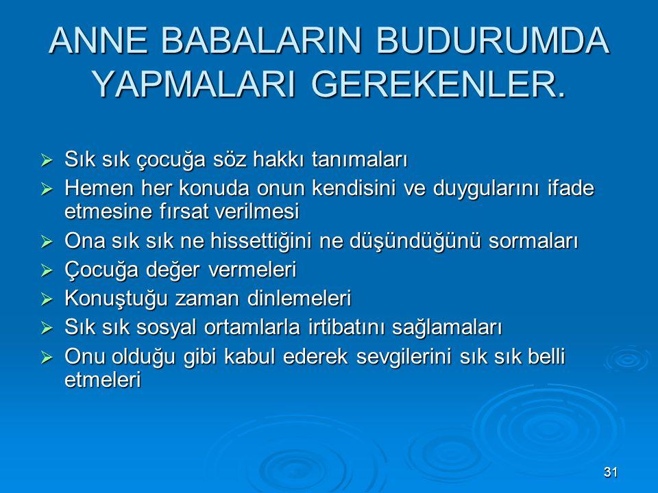 ANNE BABALARIN BUDURUMDA YAPMALARI GEREKENLER.