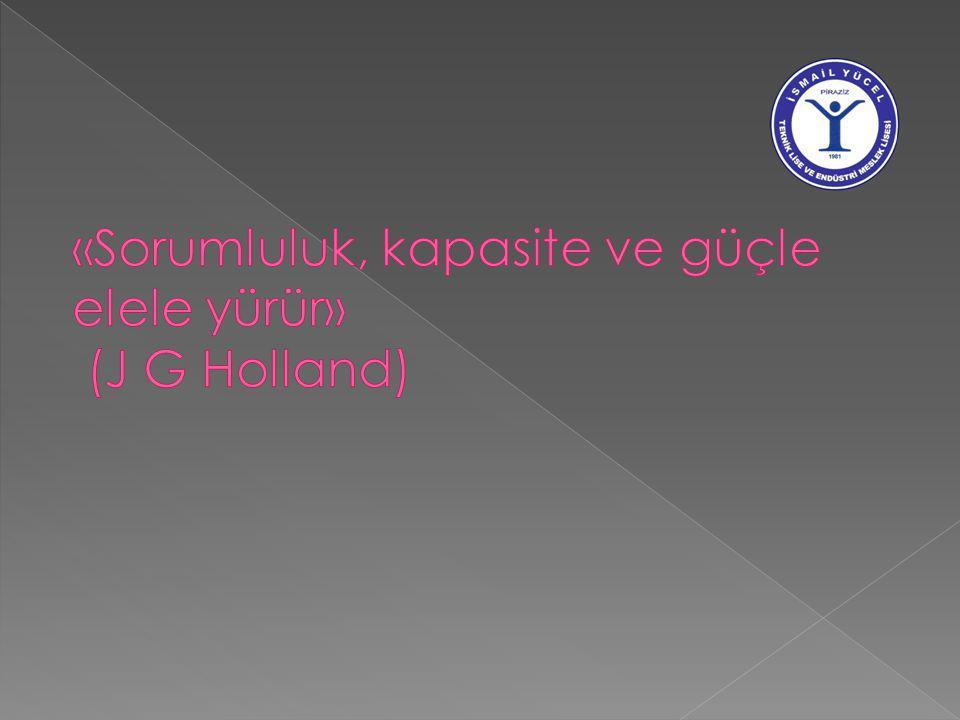 «Sorumluluk, kapasite ve güçle elele yürür» (J G Holland)