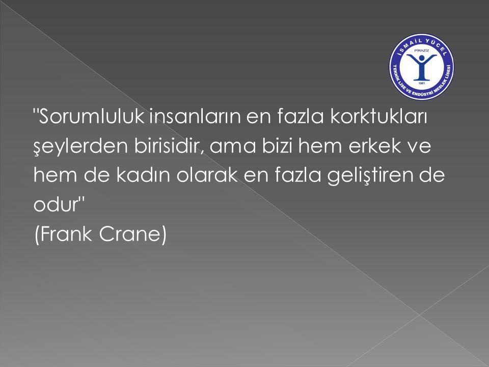 Sorumluluk insanların en fazla korktukları şeylerden birisidir, ama bizi hem erkek ve hem de kadın olarak en fazla geliştiren de odur (Frank Crane)