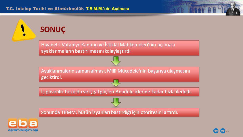 SONUÇ T.C. İnkılap Tarihi ve Atatürkçülük T.B.M.M.'nin Açılması